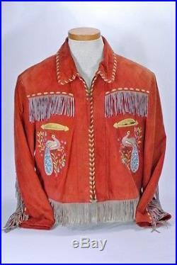 Double D Ranch Suede Leather Fringe Coat Embroidery Western Rust Red Small S