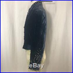 Double D Ranch Wear Womens S Blue Velvet Western Cropped Bolero Jacket Studded
