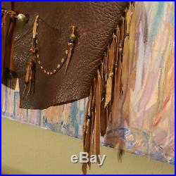 Double Ralph Lauren RRL Mens Genuine Leather Western Cowboy Fringed Vest size Lg