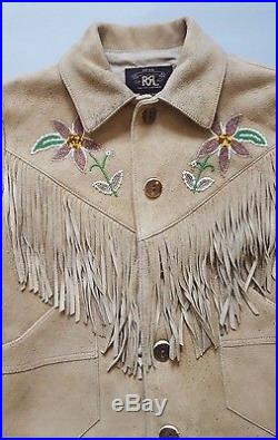Double Rl Ralph Lauren Sand Western Styled Adobe Fringed Goat Suede Jacket Sz 1