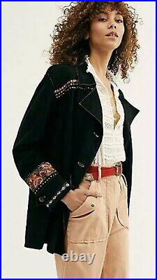 FREE PEOPLE WESTERN COWBOY Fringe Lambskin Embroidered Suede Coat Jacket XS 499$