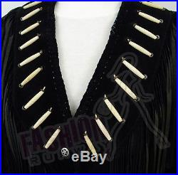Fashion Runway Ladies Suede Leather Western Jacket-Coat with Fringes and Bead