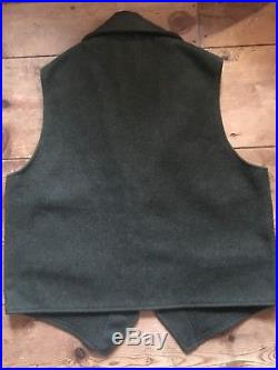 Filson Dark Forest Green Wool Western Notched Lapel Vest Mens MADE In USA Large