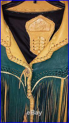 Fort Grizzly Arizona Territory RARE Tan and Green Leather Fringe Jacket! WESTERN