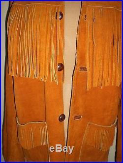 Fransen Fringe Vintage Leder INDIANER NATIVE SOUTHWEST JACKE Western Festival