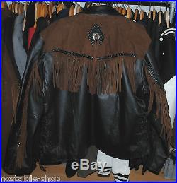 Fransenlederjacke Rockabilly Biker Jacke Leder Westernstyle 6XL