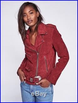 Free People X Understated Wine Leather Suede Western Moto Jacket Small NWOT $498