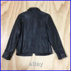 GAP Blue Jeans Black Leather Western Style Trucker Jacket Metal Buttons Men's M
