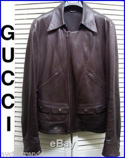 GUCCI leather jacket brown asymmetrical western charlie prince cowboy slim fit L