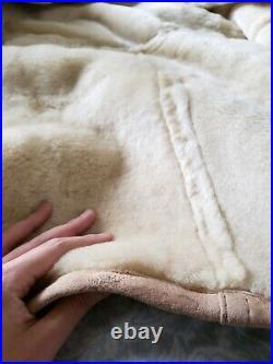 Genuine shearling duffle coat rancher sheepskin skirted dress jacket tan XS