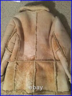 Gino Leathers Vintage Shearling Sheepskin Fur Mens Marlboro Man Coat Jacket, XL