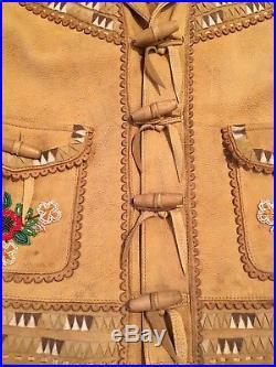 Gorgeous Rare Ralph Lauren Blue Label Western Leather Beaded Jacket 2