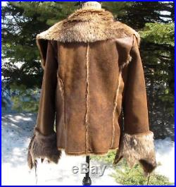 Gorgeous Scully Western Faux Fur Faux Leather Jacket XL NWT