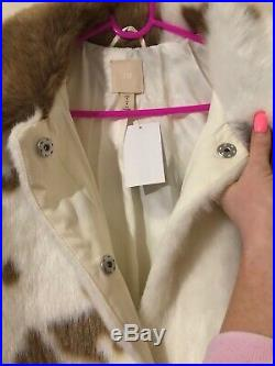 H&M FAUX TEDDY FUR COW PRINT COAT Cream Sold OUT OVERSIZED Small S UK 10 12