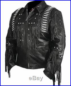 Handmade Classic Mens Western Cowboy Leather Jacket With Fringe and Beads