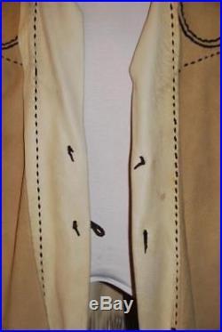 Handmade Deer Skin Leather Western Native American Beaded Fringed Jacket Coat XL