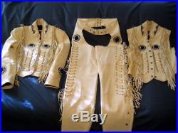 Handmade Men Western Cow Leather Jacket Vest and Pants Bones, Fringe Beads