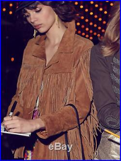 Handmade Women Brown Western Style Suede Leather Jacket Coat With fringes