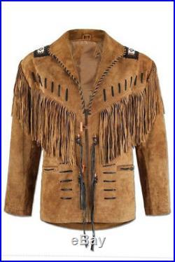 Herren Wildleder Jacke Amerikanischer Ureinwohner Fransen Western Tragen Mantel