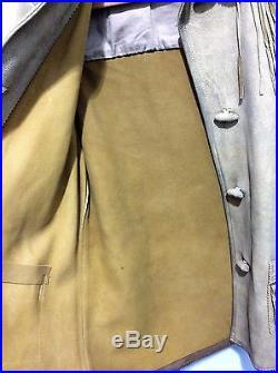 High End Ralph Lauren Blue Label 100% Leather Fringe Coat Western