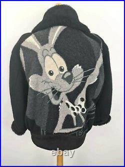 ICEBERG Disney aviator suede flight jacket coat RARE sheepskin 90s 1992 L 42 (2)