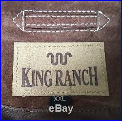 KING RANCH XL/2XL Brown Western 100% Genuine Leather Fully Lined Jacket Coat XXL