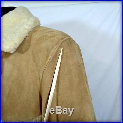 KING SIZE Vtg Barn Coat WESTERN Heavy Suede Leather RANCHER JACKET XLT XL Straw