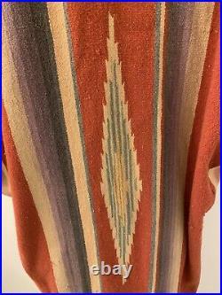 Karen Wilkinson Santa Fe Vtg. Saltillo Serape Blanket Jacket Coat- Sz M/L