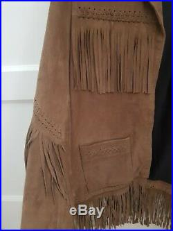Kate Moss Topshop Iconic Tan Buttersoft Suede Leather Western Jacket Uk 12