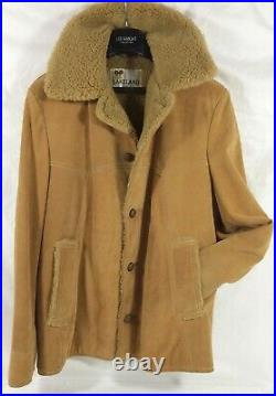 LAKELAND Shearling Sheepskin MARLBORO MAN Leather Coat Jacket Vtg USA L 42 Long
