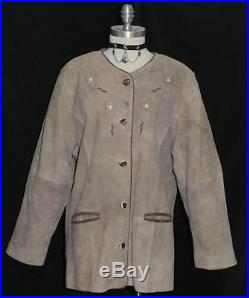 LEATHER BROWN Women GERMAN Hunting Western Sport Winter JACKET Coat Eu 46 14 L