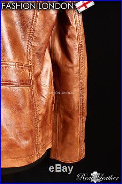 LONE STAR' Men's Vintage Tan Safari Western Cowboy Biker Leather Shirt Jacket