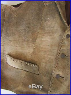 LUCCHESE Cow Suede Whipstitch Western Vest Sz 44 Large
