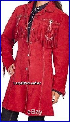 Ladies BEADED Cream SUEDE Leather WESTERN FRINGE 3/4 Length COAT Jacket CONCHOS