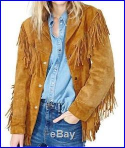 Ladies Jacket Western Suede Leather Cow-Lady Native American Women Fringe coats