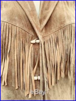 Lauren Ralph Lauren Tan Suede Western Hippie Boho Fringed Jacket Sz 46