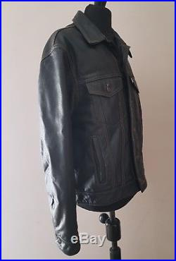 Levi's Trucker Vintage Leather Motorcycle Jacket Brown M Levis Western Buffalo