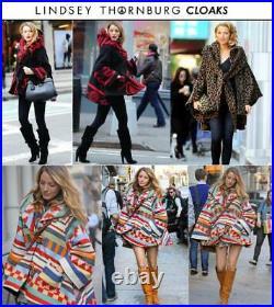 Lindsey Thornburg Cloak Coat Jacket Poncho Red Wool Southwestern Aztec Native