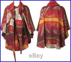 Lindsey Thornburg Pendleton Blanket Coat Cloak Poncho Jacket Shawl Wool One Size