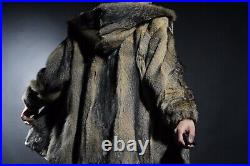 Luxury Real Women Vintage Hooded Cross Fox Fur Jacket Coat Bolero Preowned