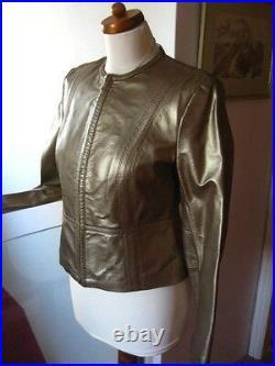 M&S short gold leather JACKET COAT size UK 16 14 bolero cropped metallic punk
