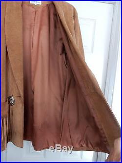 Melanzona Jacket Coat Suede Western Cowboy Fringe Conchos Tan M Rare Vintage