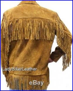 MENS Hippie Fringe BLACK Or BROWN Premium SUEDE Leather WESTERN Trapper Jacket