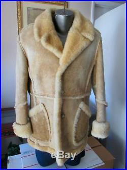 Marlboro Man Style Sheepskin Shearling Vintage Rancher Western Mans Coat Jacket