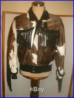 Mealey's Pitic Cowhide Hair On Leather Western Fringe Jacket Coat men Size 40