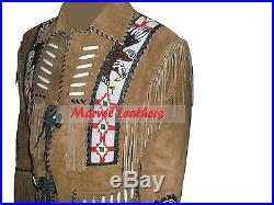 Men Handmade western cowboy jacket-men beads and bones fringe suede leather coat
