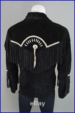 Men Suede Leather Western Cowboy Jacket with Fringe & Beads NATIVE AMERICAN COAT