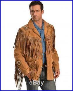 Men Top fashion Scully Western wear Brown Suede Leather Jacket Fringe Bead Bones