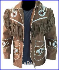 Men Traditional Cowboy Tobacco Suede Leather Western Vintage Jacket Fringe Beads