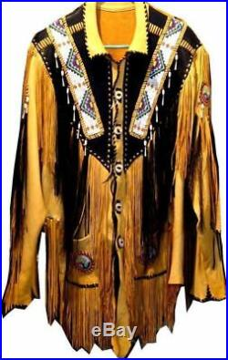 Men Traditional Western Cowboy Leather Jacket coat with fringe and beads